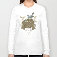 hair Long Sleeve T-shirts featuring Bird Hair Day by Monica Gifford