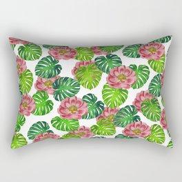 Tea Rose Monstera Leaf White Rectangular Pillow