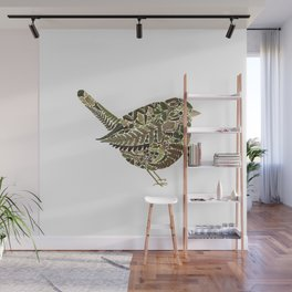Wren made from pressed Fern leaves - Herbarium Bird Artwork Wall Mural