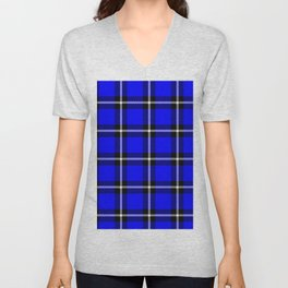Solid blue #0000ff color themed plaid SCOTTISH TARTAN Checkered Fabric Pattern texture background Unisex V-Neck
