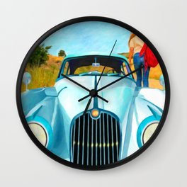Old Blue by Liane Wright Wall Clock
