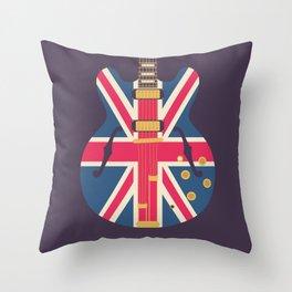 Union Jack Flag Guitar - Black Throw Pillow