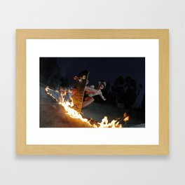Fire in the mountain Framed Art Print