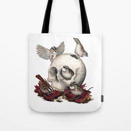 White-throated Sparrows Forage Amongst Human Remains Tote Bag