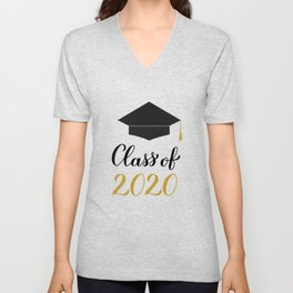 Class of 2020 lettering with graduation cap and tassel. Congratulations to graduates.  Unisex V-Neck