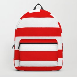 Stripe Red White Backpack