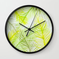 Painted Palm Fronds Wall Clock