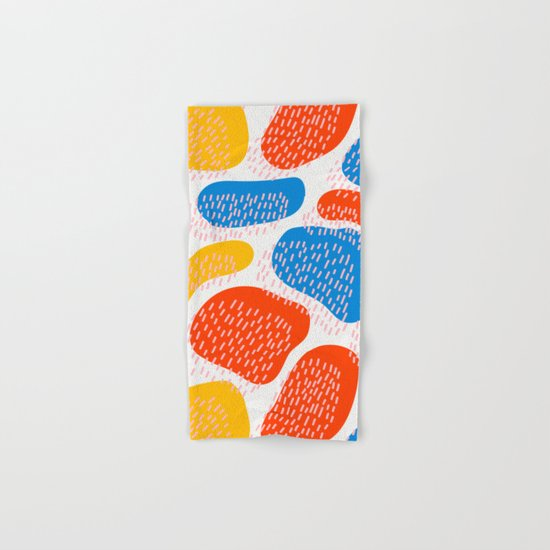 Abstract Orange, Blue and Yellow Memphis Inspired Pattern Hand & Bath Towel