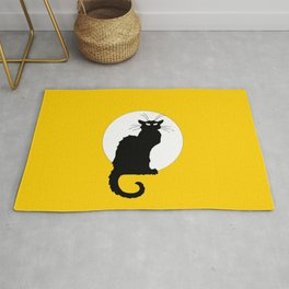 Alexandre Steinlen - Le chat noir - The black cat - 3 -  Orange Rug