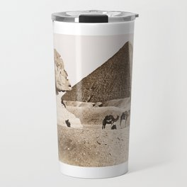 Vintage picture of Egypt Pyramids and Sphinx at Giza Travel Mug