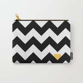 Heart & Chevron - Black/Yellow Carry-All Pouch