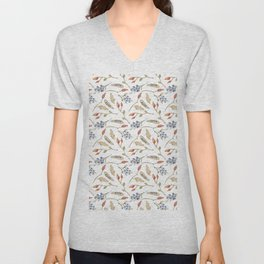 Fall watercolor blue coral orange brown leaves berries Unisex V-Neck