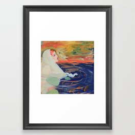 Girl in a pool with goldfish. Framed Art Print