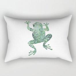 green lichen crawling frog silhouette Rectangular Pillow