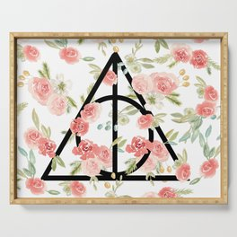 Floral Deathly Hallows Serving Tray