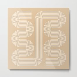 Geometric Lines in Beige and White (Mid century Midern Rainbow Abstract) Metal Print