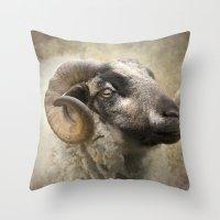 ram Throw Pillows featuring Ram by Pauline Fowler ( Polly470 )