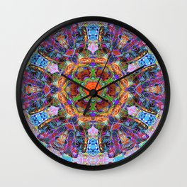 Mandala with colorful collage Wall Clock