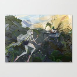 The story of one girl and a duck Canvas Print