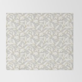 Olive tree leaves - yellow and grey Throw Blanket
