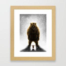 Little girl and her teddy bear Framed Art Print