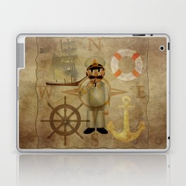 Captain, ship, rudder, anchor, lifebelt, map, compass, old map, messy, messy map Laptop & iPad Skin