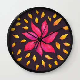 Whimsical Watercolor Floral Pattern In Pink And Purple Wall Clock