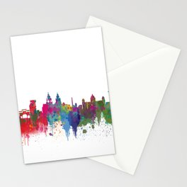 Liverpool seafront city line skyline waterfront watercolour colours colour splash by Evangelos Stationery Cards