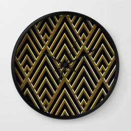 Art Deco 3-D Luxurious Gold and Black Pattern Wall Clock