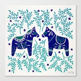 Swedish Dala Horses – Navy & Blue Palette Canvas Print