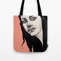lip Tote Bags featuring Lip Ring by fossilized