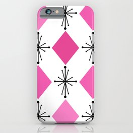 Atomic Age 1950s Diamonds Starbursts Pink iPhone Case