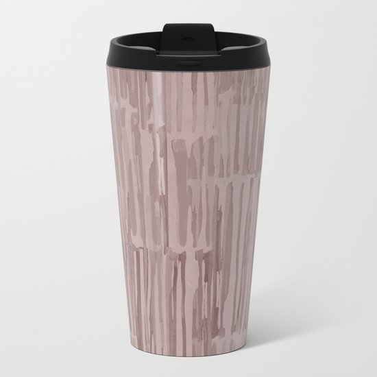 Simply Bamboo Brushstroke Red Earth on Clay Pink Metal Travel Mug
