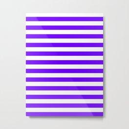 Narrow Horizontal Stripes - White and Indigo Violet Metal Print