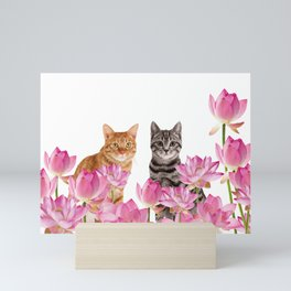 Red and Tiger cat in Lotos Flower Field Mini Art Print