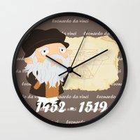 da vinci Wall Clocks featuring Leonardo da Vinci by Alapapaju