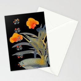 Atom Flowers #34 in orange and blue grey Stationery Cards