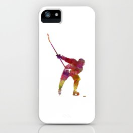 Hockey man player 02 in watercolor iPhone Case