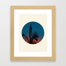 Pink & Blue Sunset With Palm Tree Silhouette Framed Art Print