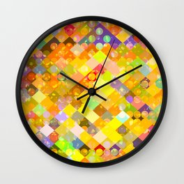 geometric square pixel and circle pattern abstract in yellow orange red blue Wall Clock
