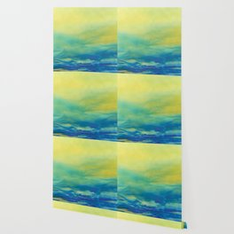 YELLOW & BLUE TOUCHING #1 #abstract #art #society6 Wallpaper