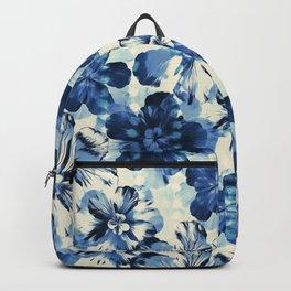 Shibori Inspired Oversized Indigo Floral Backpack