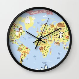 World Map for Kids Wall Clock