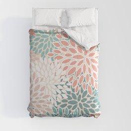 Festive, Floral Prints, Teal Green, Peach, Coral, Colour Prints Comforters