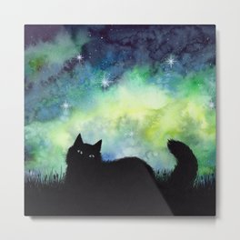 Galaxy Sky and Cat Silhouette Metal Print