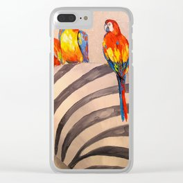 Parrots on Zebra Clear iPhone Case