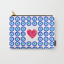 Evil Eye Protected Heart white background Carry-All Pouch