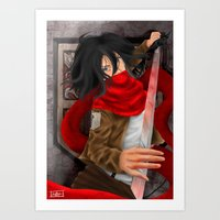 mikasa Art Prints featuring Mikasa Akerman  by Hetty's Art