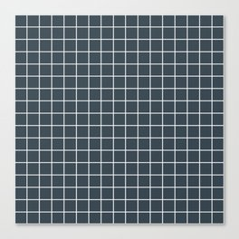 Charcoal - grey color - White Lines Grid Pattern Canvas Print