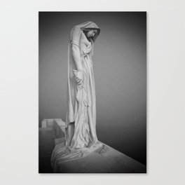 Statue in the mist Canvas Print